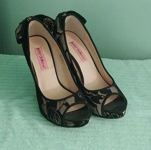 Betsey Johnson Nude Black Lace Peep Toe Heels
